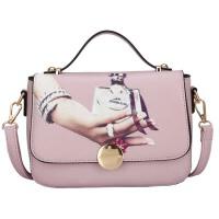 新款女包时尚潮流手提包夏季单肩包斜挎包印花包休闲小方包包 粉色