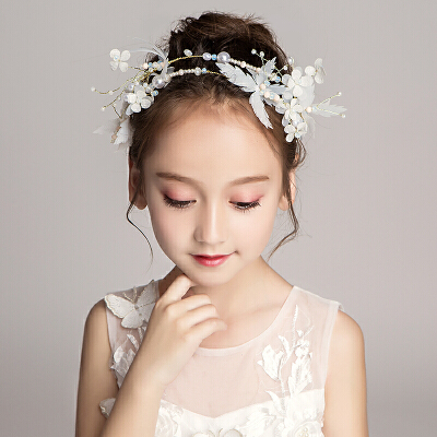 儿童珍珠发饰头箍头花饰品花童婚纱发卡女童白色花朵头饰发箍配饰