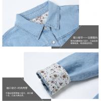 牛仔衬衫女春秋韩版长袖大码棉修身打底衬衣女薄款学生外套