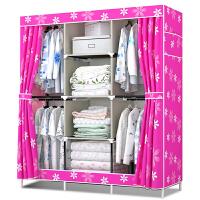 衣柜简易布衣柜衣橱组合布艺牛津布加固折叠钢架双人大号