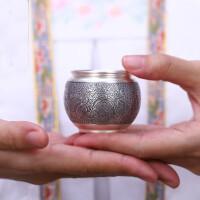祥龙纳珠银杯子999纯银水杯足银个人茶具手工功夫杯银具杯 水杯 杯子