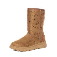 冬季中筒保暖加绒雪地靴女厚底百搭防滑甜美星星棉靴女潮