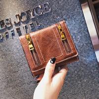 钱包女短款2折钱夹女2018新款韩版折叠拉链薄款多卡位复古零钱包