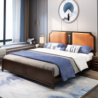 轻奢新中式实木床皮靠1.8米1.5简约主卧样板间高箱抽屉储物具 1800mm*2000mm 气压结构