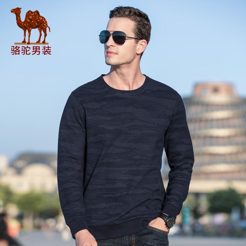 骆驼男装 秋冬新款时尚休闲青年圆领长袖卫衣男士打底衫潮