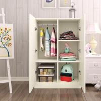实木质矮衣柜小孩小型简易组装2开门板式衣橱简约现代经济型 A款暖白色(40深) 120*80*40 2门 组装