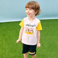 小猪班纳童装儿童短袖套装男童裤子宝宝上衣2020新款夏装运动短裤