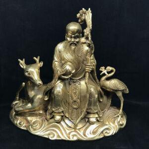寿星骑鹿送福禄铜摆件