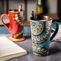 复古风大号马克杯带盖勺子喝水杯子个性咖啡杯手绘陶瓷家用高杯子