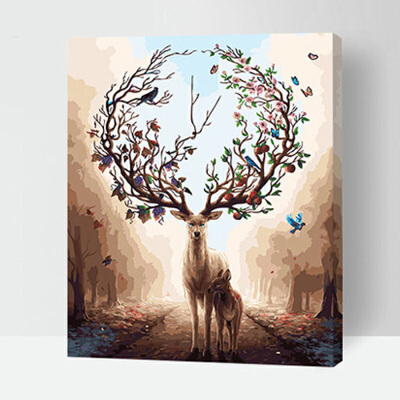 菲绣diy数字油画客厅书房手绘动物风景填色油彩装饰画 梦幻森林鹿