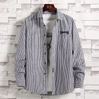 衬衫男 条纹衬衫男士长袖韩版修身衬衣青少年潮流寸衫