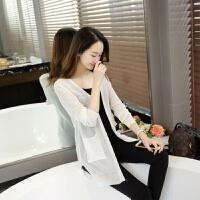 新款薄针织衫女开衫夏季女款韩版中长款长袖披肩空调衫纯色防晒衣