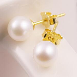 梦 梵雅925纯银简约气质淡水珍珠耳钉女时尚日韩国耳环百搭银饰品
