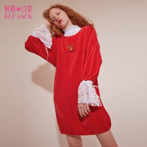 妖精的口袋公主语录冬装新款蕾丝拼接假两件宽松连衣裙女