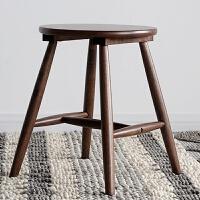 实木吧台凳子高脚凳家用酒吧凳圆凳子 胡桃木色