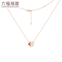 六福珠宝开运18K金项链彩金套链白贝母红玉髓吊坠定价ENJ5K30009R