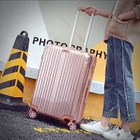 韩版旅行箱万向轮铝框拉杆箱pc学生行李皮箱潮男女软箱22 24 26寸 玫瑰金 拉链镜面款