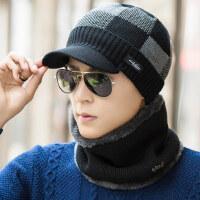 韩版套头帽青年格子帽 加绒保暖毛线帽 户外男士帽子暖男鸭舌帽针织帽
