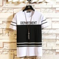 赫驼夏装新款纯棉弹力圆领短袖T恤衫 787新潮青年polo衫 拼色学生打底衫