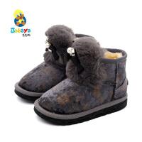 【2.5折价:79.75】芭芭鸭儿童雪地棉靴宝宝雪地靴公主鞋女童鞋2019冬季新款靴子冬鞋