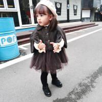 霓婴坊冬季韩版女童毛呢斗篷外套+背心裙2件套女童套装潮款夹棉套