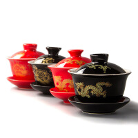 【支持礼品卡】红黑金龙盖碗组 休闲功夫茶具 高档陶瓷茶具 t8l