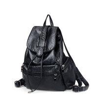 软皮韩版女士双肩包女书包时尚休闲潮学院风学生旅行包两用女背包 黑色