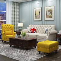 美式沙发地中海轻奢田园小户型客厅家具整装单三人位布艺沙发组合 ++