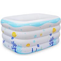 四环加厚新生儿婴幼儿儿童充气长方形游泳池加厚保温环保泳池洗澡盆 充气产品 143*105*75cm