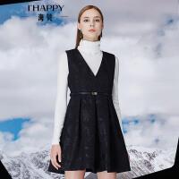 海贝冬季新款女装 V领纯色毛呢优雅无袖连衣裙百搭背心裙