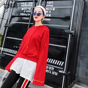 七格格连帽卫衣秋季女2018新款韩版宽松红色ulzzang长袖短款运动原宿风