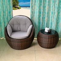 户外阳台藤椅三件套藤编桌椅懒人躺椅休闲圆形沙发茶几组合室内外
