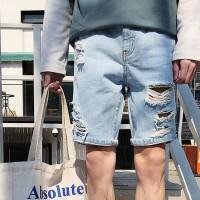 S帅T中性大破洞五分裤男矮个子XS码S小码牛仔短裤155中裤