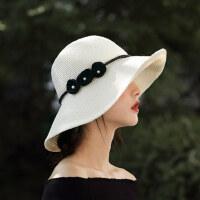 可折叠遮阳帽子珍珠花朵大沿太阳帽女休闲度假草帽旅行沙滩帽