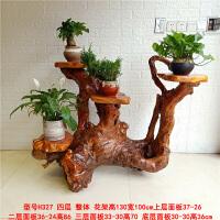 根雕花架实木花盆底座多层盆景原木树根装饰架子客厅鱼缸摆件 四层花架 H327
