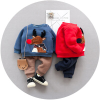 宝宝套装冬加厚男儿童卫衣套装1-3岁加绒5秋冬男童秋冬两件套男潮