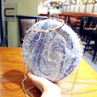 小圆包女包2018新款韩版时尚百搭毛毛手提晚宴包单肩斜挎链条包 蓝色