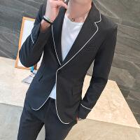 韩新品男士时尚休闲西装套装韩版修身青年帅气发型师西服两件套