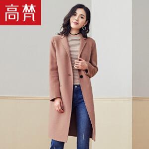 【限时1件3折到手价:399元】高梵秋冬新款羊毛大衣女韩版修身毛呢外套中长款驼色呢子大衣
