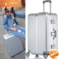 铝框拉杆箱万向轮20/28寸男旅行箱硬箱女箱子26PC旅行李箱24/30寸 银色 挂钩款