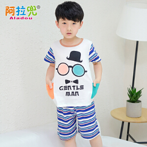 阿拉兜夏季新款男孩儿童睡衣纯棉短袖小孩中大童装男童家居服套装 37971