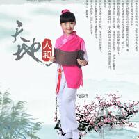 儿童古装汉服幼儿国学服装弟子规演出服男女童三字经书童表演服装 玫红色 长袖刺绣