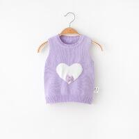 春秋薄款女童针织马甲婴儿毛线背心女宝宝马夹新生儿1婴幼儿0-3岁