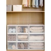 抽屉式收纳盒衣柜收纳可叠加透明储物收纳箱爱丽丝塑料家用 两只装
