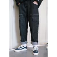 日系国潮复古大口袋工装风牛仔裤潮男街头宽松显瘦低裆哈伦BF长裤 黑色