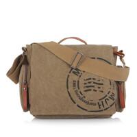 帆布包男包男士电脑包单肩手提斜挎公文包大包翻盖包包