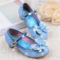 蓝色公主鞋女童高跟单鞋春水晶鞋儿童皮鞋