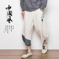 夏亚麻短裤男宽松中国风大码九分裤阔腿沙滩裤灯笼裤子七分大裤衩