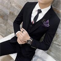 西服套装男士韩版修身西装三件套时尚潮流婚礼服夜店大码西装男潮