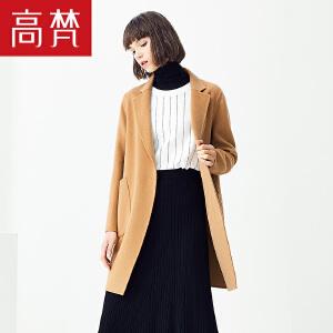 【1件3折 到手价:429元】高梵秋季新款双面呢外套韩版时尚潮流纯色长款修身呢子大衣女